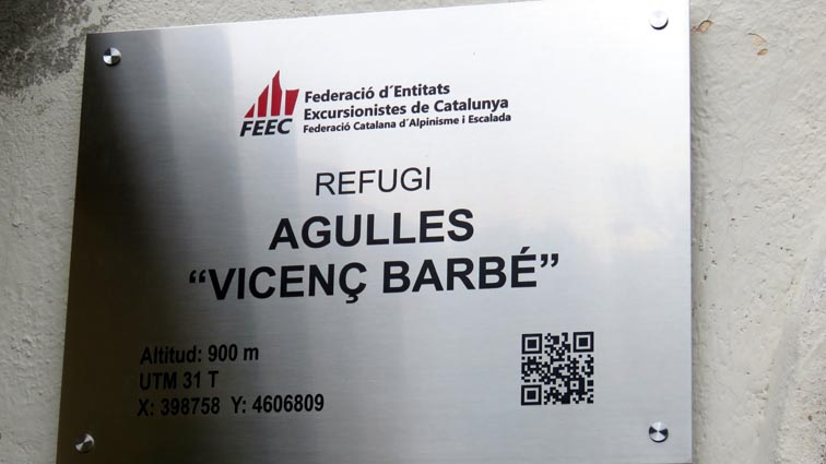 Plaque du refuge Vincenç Barbé